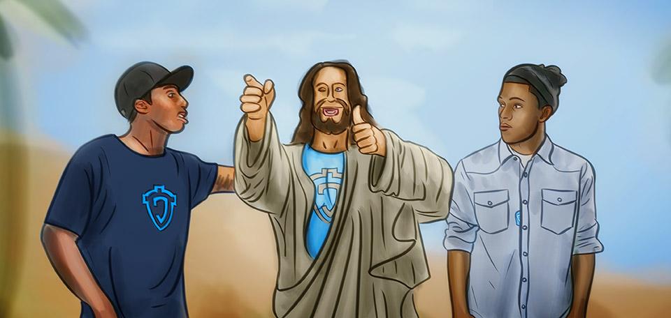 Jesus with Trip Lee and Lecrae - Digital Art by Matthias Zegveld
