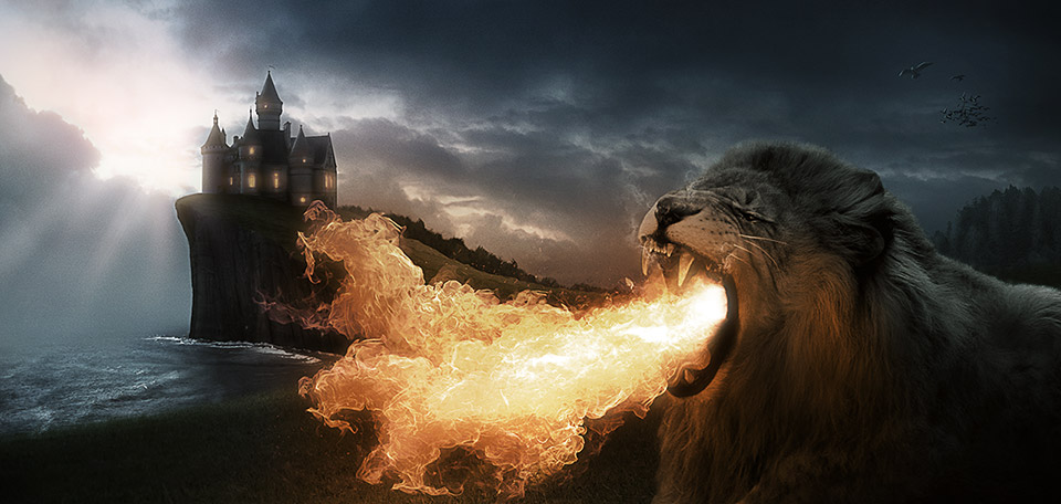 While the king is feasting with his people inside the palace, the lion is outside — busting the demons. -- Lion of Fire - Digital Art by Matthias Zegveld