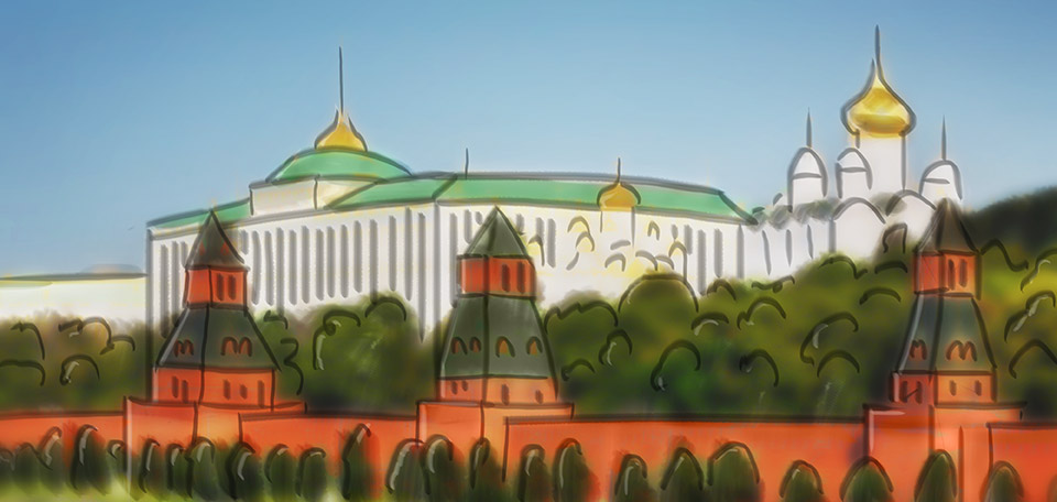 This Art pictures the beautiful Kremlin, the palace of the political top in the center of Moscow. -- The Beautiful Kremlin - Digital Art by Matthias Zegveld