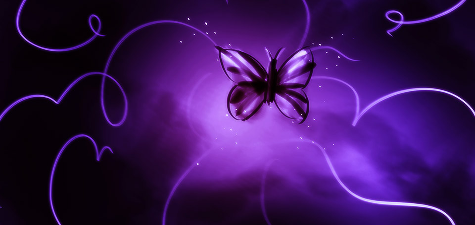 Bathed in a range of purple colors, this Art pictures a butterfly and its magical journey. -- Way of the Butterfly - Digital Art by Matthias Zegveld